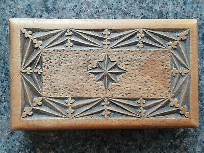 Antique Wooden Box, c1900 Beautiful Chip Carved Box Victorian/ Edwardian