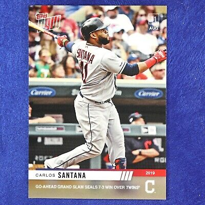 2019 Topps Now Card # 671: Cleveland Indians Carlos Santana  (Pre-Sale)