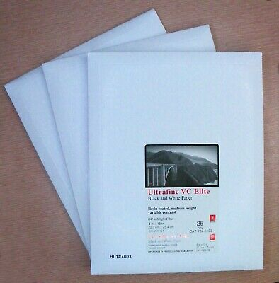 3 Packs Ultrafine VC ELITE Variable Contrast Paper 8x10 75 Sheets Pearl, Glossy