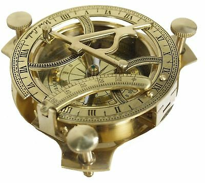 Vintage Marine Nautical Solid Brass Sundial Compass Hand-Made Working Compass
