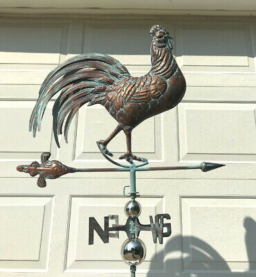 NEW Lg FRENCH ROOSTER 3D Functional Weathervane AGED COPPER PATINA FINISH Cupola
