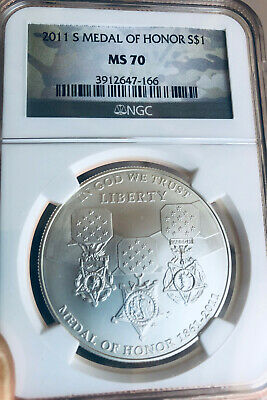 2011-S Medal of Honor Silver Dollar Commemorative - NGC  MS-70 - Mint State 70