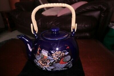 Vintage Blue/Peacock Japanese Porcelain Teapot With Bamboo/Wicker Handle