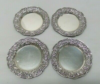 4 Antique S KIRK & SON INC Sterling Silver Butter Pats REPOUSSE