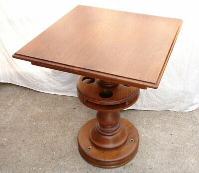 Antique Late Victorian Square Solid Oak Rotating Ship's Drink Drinking Table