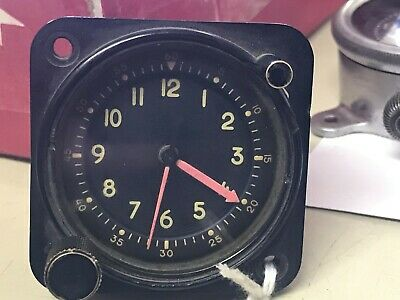 Vintage Waltham Type A-13A  USAF Aircraft 8 Day Clock 1960's era Works Great!