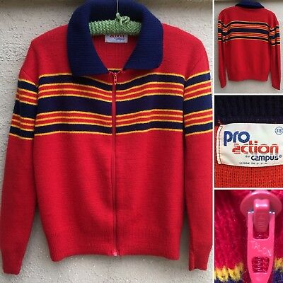 Vintage Pro Action By Campus Zip Front Sweater W/ Collar Striped 70s Boys 18