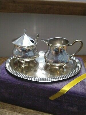 Vintage EPNS mustard Pot, Sauce Set On Plate With Nevada Silver Mustard Spoon