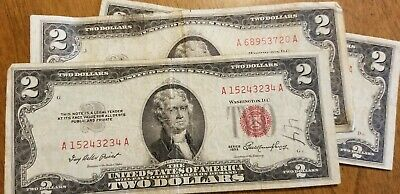 1 1953 $2 Dollar Bill Note Randomly Selected Red Seal Two