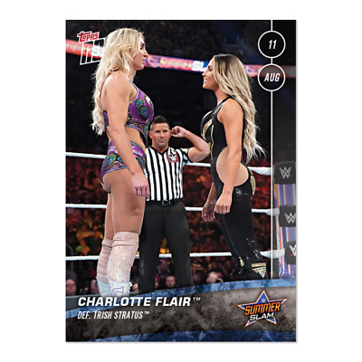 2019 Topps Now Wwe #45 Charlotte Flair Defeats Trish Stratus At Summerslam