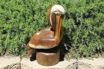 """Large Vtg Hand Craved """"Perched Pelican"""" Soild Wood Sclupure. Signed"""