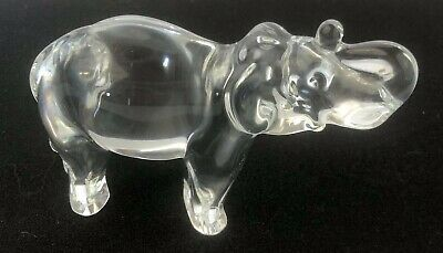 Baccarat France Clear Crystal Elephant Sculpture Figurine Lucky Trunk Up NO BOX