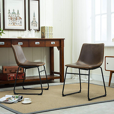Roundhill Furniture Lotusville Vintage PU Leather Dining Chairs, Antique Brown,