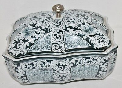 """VTG Blue and Gray Porcelain Covered Bowl Dish - Metal Finial - 8 3/4"""""""