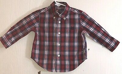 Chaps Baby Boy's 12M Shirt Long Sleeve Button Down Plaid Navy Embroidered Logo