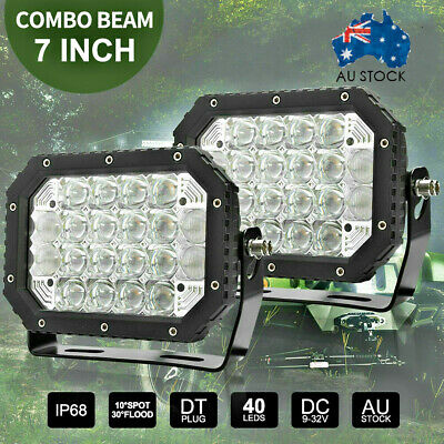 Pair 7inch 5D Square LED Driving Light Bar Spot Flood Combo Offroad Boat LY