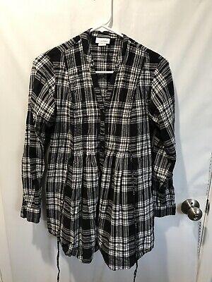 MOTHERHOOD MATERNITY Womens Black And White Plaid Long Sleeve Blouse Size Small