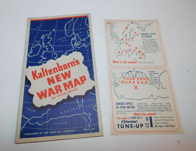 Neat 1940 Kaltenborn's New War Map By The Pure Oil Company