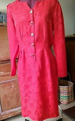 Genuine VINTAGE Dress 8 10 S Red Silk Gold Buttons 80s 90s Cocktail Evening