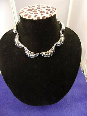 Outstanding Vtg Antique Gold Washed Silver & Synthetic Sapphire Art Deco Choker