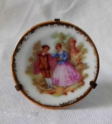 Vintage French Porcelain Miniature Cabinet Plate , Limoges DC France 4.5cm Diam.