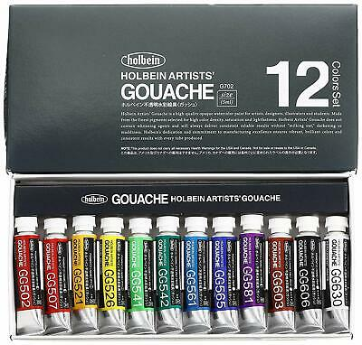Holbein Artists Gouache Opaque Watercolor 12 Colors Set 5ml Tubes G702