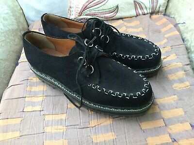 Retro Shoes Black Suede Creepers Made In England GRIPFAST UK 11 Sixties Style