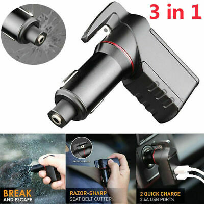 3 in 1 Safety Hammer USB Charger Spring Loaded Window Breaker Emergency Tool