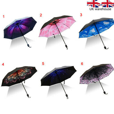 1x Upside Down Inverted Floral Umbrella Double Layer Windproof Reverse-Design Uk