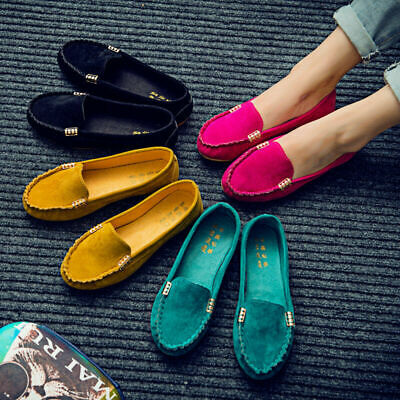 Women Suede Flat Shoes Loafers Ladies Ballerina Ballet Slip On Casual Moccasin