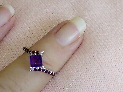 Natural Amethyst Real Gemstone Real Ruby Ring 925 Sterling Silver Size 7,8 (O,Q)