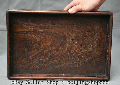 "14"" Collect Old Chinese Huanghuali Wood Hand Carved Dynasty Palace Plate Tray"