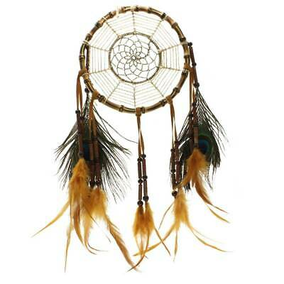 Handmade Peacock Feather Bamboo Ring Dream Catcher Wall Hanging Home Decor Craft