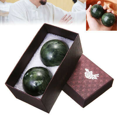 2Pcs Chinese Health Exercise Stress Jade Stone BAODING Balls Relaxation Therapy