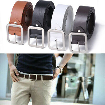 Men's Casual Leather Dress Belt Square Pin Buckle Waist Strap Belts Waistband