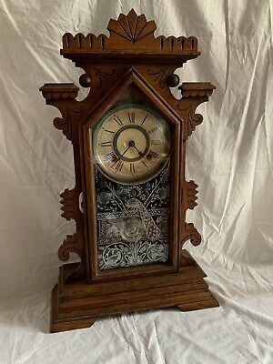 "ANTIQUE Vintage American GINGERBREAD MANTLE CLOCK by ANSONIA CLOCK Co NY,23""high"