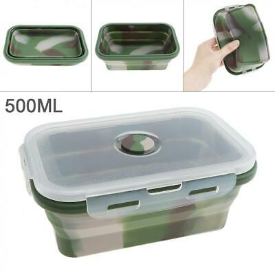 Safe Silicone Collapsible Folding Lunch Bowl Bento Box Food Container Soup 500ML