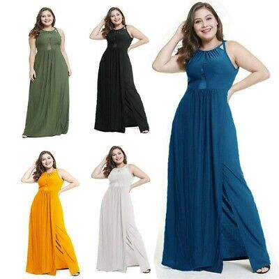 Plus Size Women Chiffon Long Maxi Dress Sleeveless Backless Party Prom Gown Sexy
