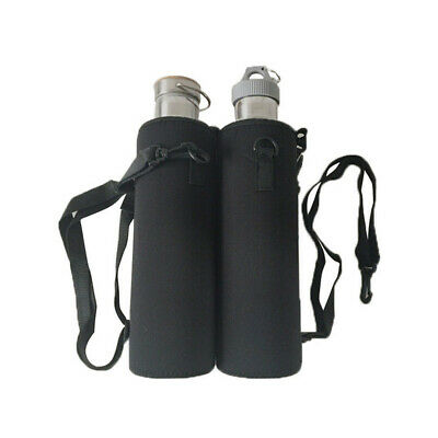 1000ML Water Bottle Carrier Insulated Outdoor Cover Bag Holder Strap Pouch Black