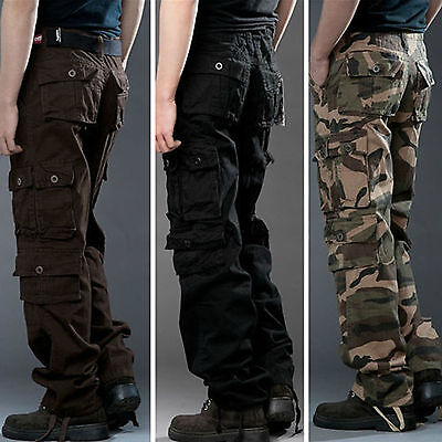 Mens Camo Cargo Pants Casual Outdoor Tactical Combat Military Army Work Trousers