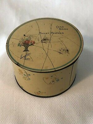 Vintage Cara Nome Powder Jar Container Metal Tin Light Yellow Round Cosmetic