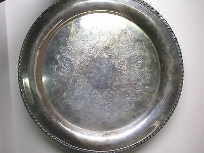 """Large Silverplate Serving Platter Oneida 15"""" Tray Odd Tarnish Etched Victorian"""