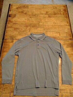 Adidas Golf Climalite - Mens Size Large Long Sleeve Polo - 100% Polyester - Gray