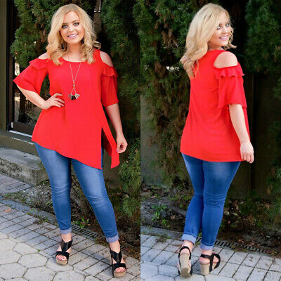 Plus Size Womens Cold Shoulder Blouses Ladies Short Sleeve OL Shirts Tunic Tops