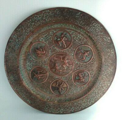 C 19th Century Indian Repousse Copper Tray Deities with Foliate Scrolling Border
