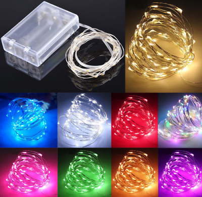 20/50/100 LED Battery Micro Rice Wire Copper Fairy String Lights Party white/rgb