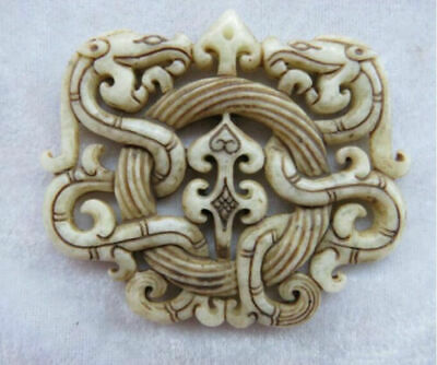 Chinese old jade hand-carved dragon amulet Pendant
