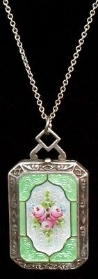 ABSOLUTELY GORGEOUS Antique ART DECO STERLING ENAMEL GUILLOCHE Locket NECKLACE