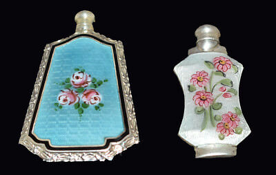 2 Gorgeous Antique *Sterling* ENAMEL GUILLOCHE  PERFUME BOTTLES Hand Painted