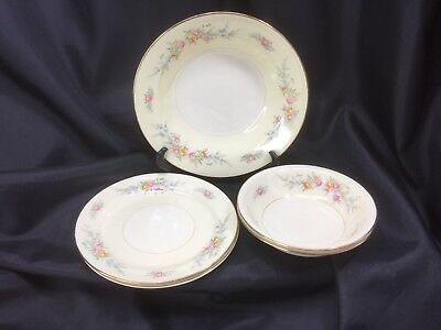 5 Homer Laughlin Eggshell Nautilus Ferndale Gold Trim Bowls And Plates 1947-1950